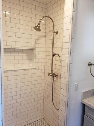 Subway tiles, shower valve