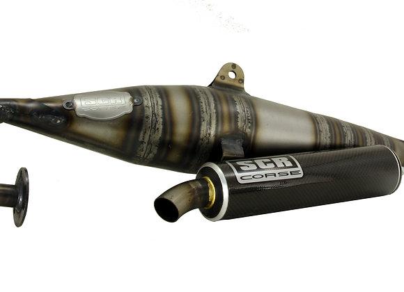 Tubo de escape SCR Hand Made 70cc Minarelli Horizontal Carbono