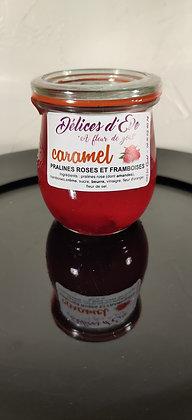 Caramel à tartiner framboise et pralines roses