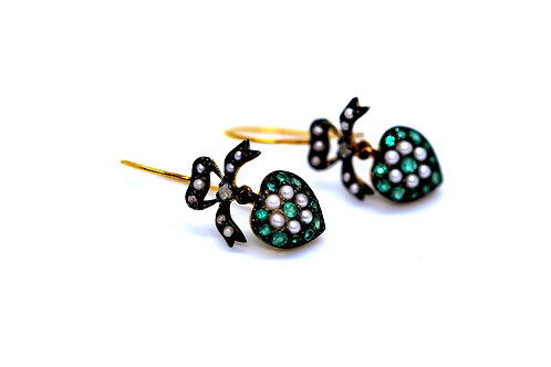 Victorian silver on gold earrings set with emeralds, half pearls & diamonds