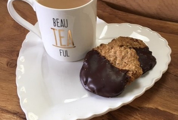 Chocolate Dipped Spiced Pecan & Ginger Biscuits