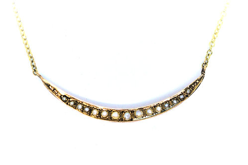 9ct yellow gold Victorian split pearl crescent necklace