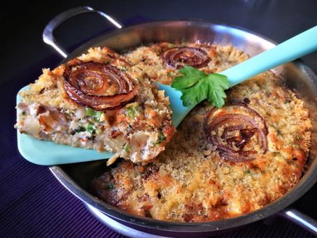 פריטטה תפוחי אדמה צלויים ובצל סגול