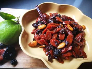 צימעס גזר ופירות מיובשים