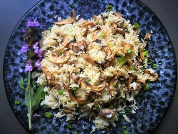 אורז עם פטריות צלויות