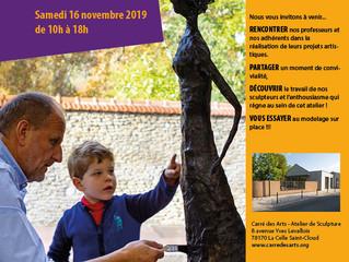 PORTES OUVERTES A L'ATELIER DE SCULPTURE  Samedi 16novembre2019 de 10h à 18h