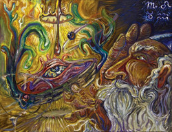 Ophanim, oil on linen, 2013, Transmute Group Show