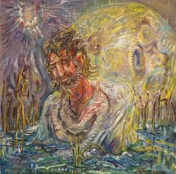 Baptizm, oil on wood panel, 12 x 12_HOLY FOOL_ Eye Lounge Solo Show 2011_Photo Credit_ Daniel Funkho
