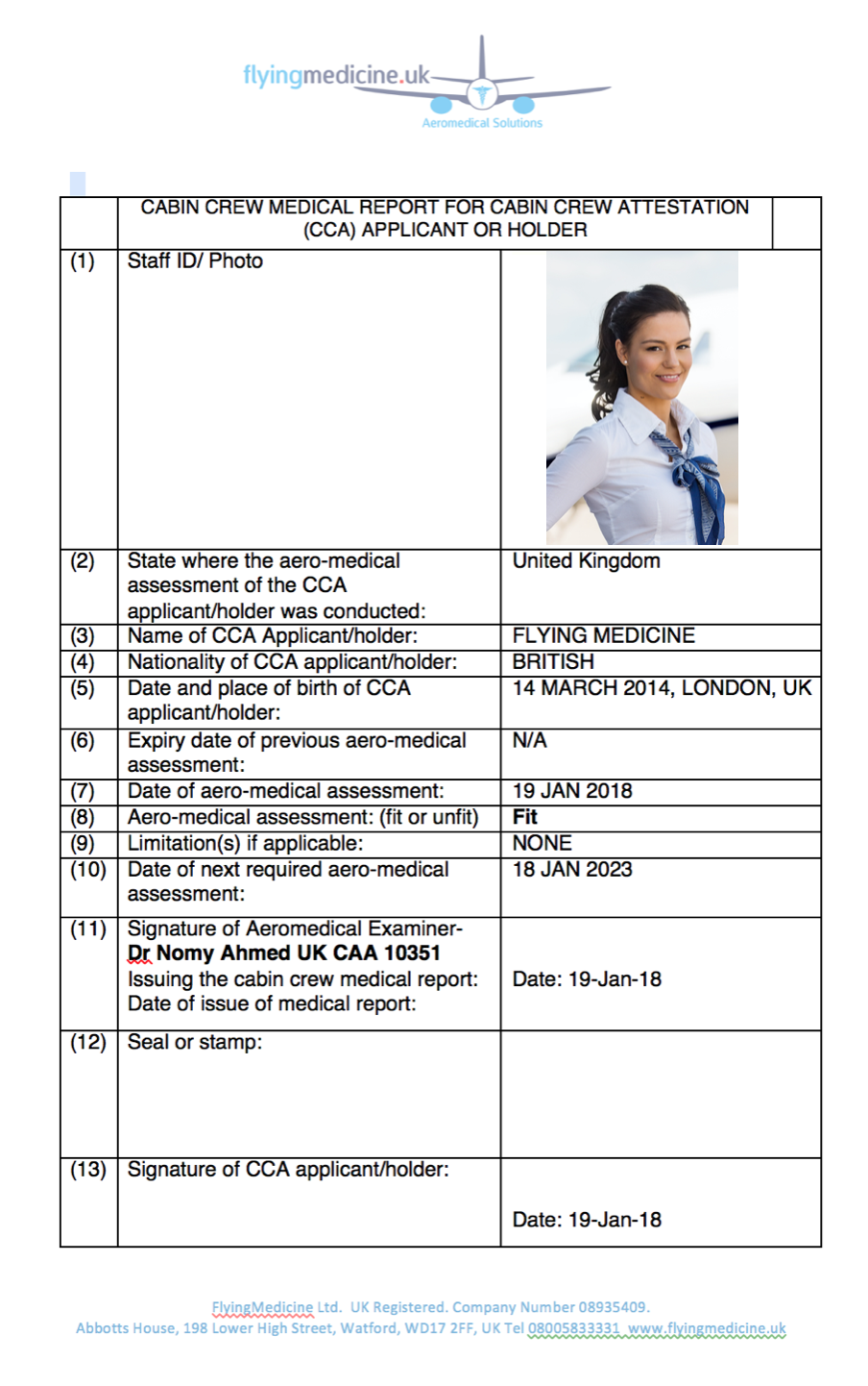 Cabin Crew Medical Certificate- FlyingMedicine