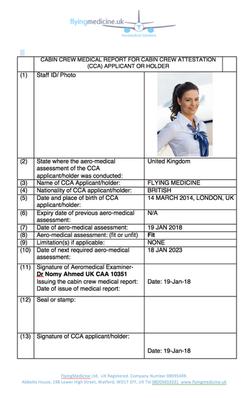 Cabin Crew Medical Certificate- FlyingMedicine