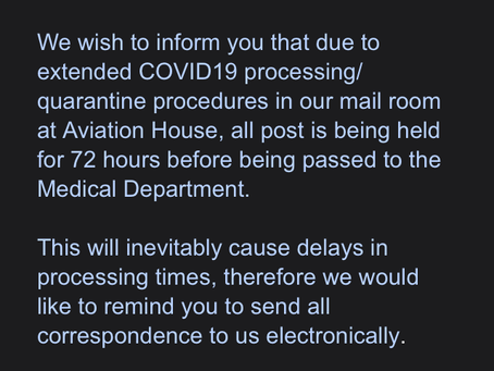 CAA Medical delays due to CoVID19