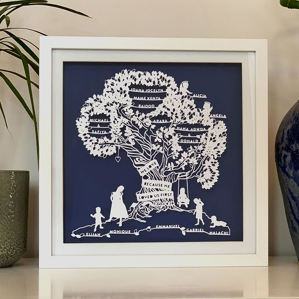Paper Cut Family Tree. Personalised Art by Paper Kites Studio.