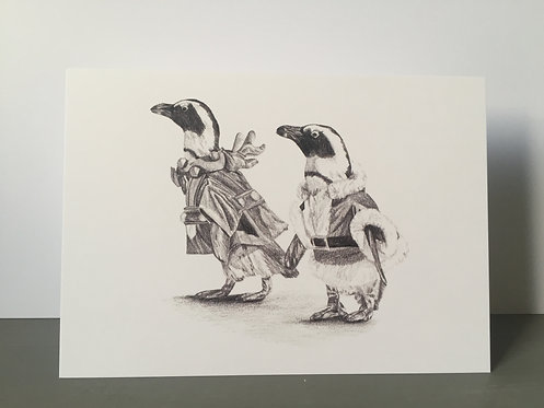Single Christmas Card - Penguins
