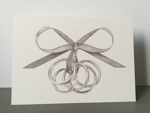 Single Christmas Card - Gold Rings