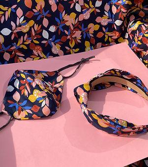 Clairebands. Hand made headband and facemask set.