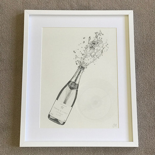 Framed Champagne Bottle Print
