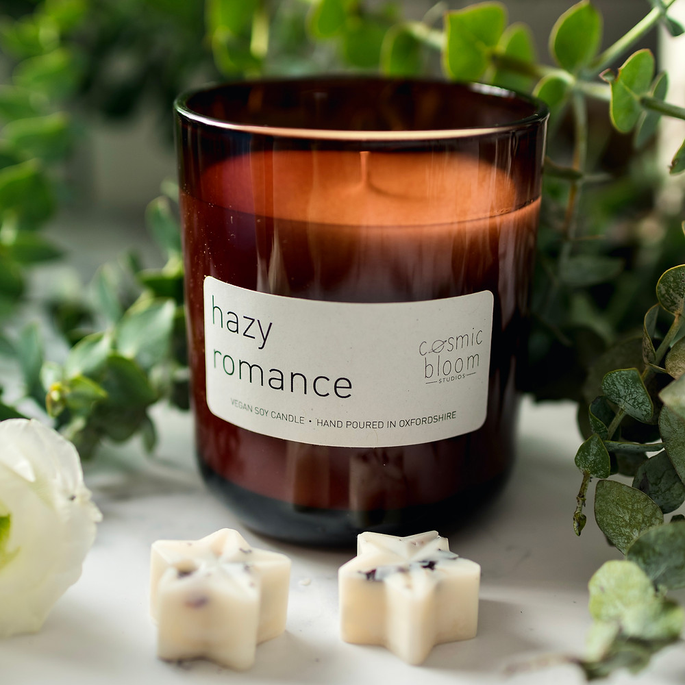 Hazy Romance Soy Wax Candle. Vegan Candle. Cosmic Bloom Studios