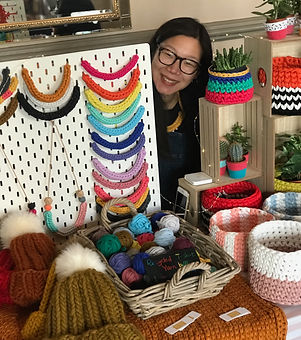 Jamie from She Knits You Love. Hand made knitted baskets. Knitted necklaces.