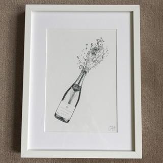 Champagne Bottle Print