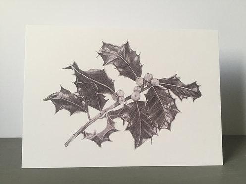Single Christmas Card - Holly
