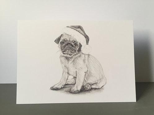 Single Christmas Card - Pug