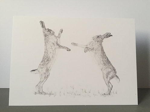 Single Christmas Card - Boxing Hares