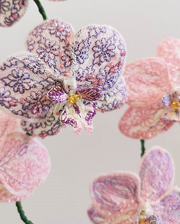 Jessie Dickinson Orchid Embroidery. Textile artist.
