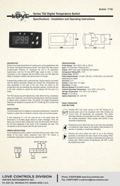 Love Series TS2 Manual for Simple Single Tank Controllers