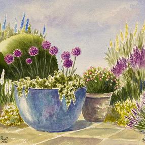 Blue Pot and Alliums