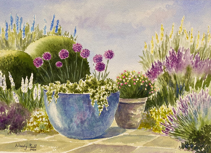 Blue Pot and Alliums