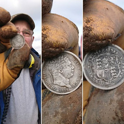Nice find Rick!_Lovely looking 1817 Bullhead in the hole!_#george #third #silver #shilling #beautifu