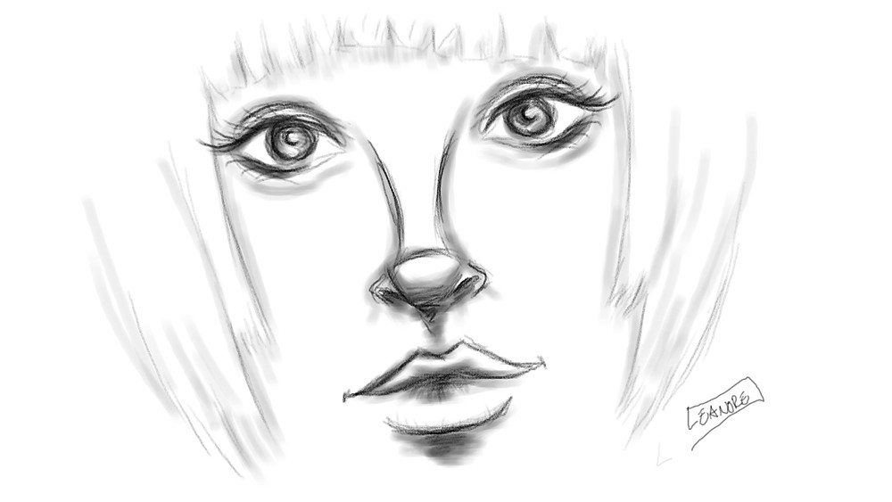 a toned sketch of a woman's face