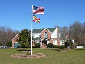 Residential flagpole installation, flagpole refinishing, flagpole painting, flagpole light repair, flagpole replacement