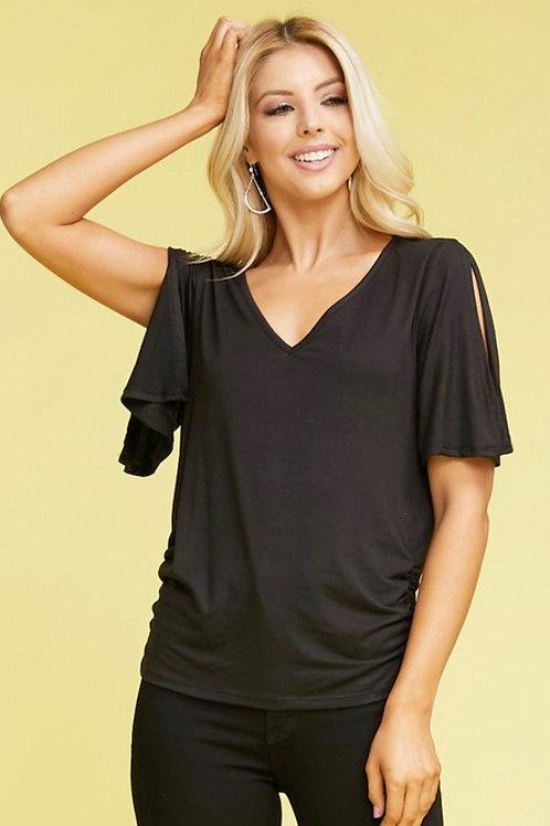 Overlap Short Sleeve Black