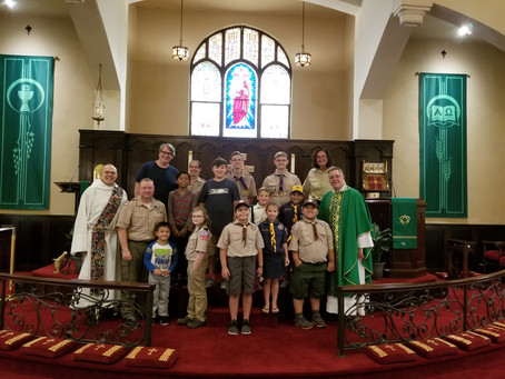 Scouts, Uniforms and Flags Blessed