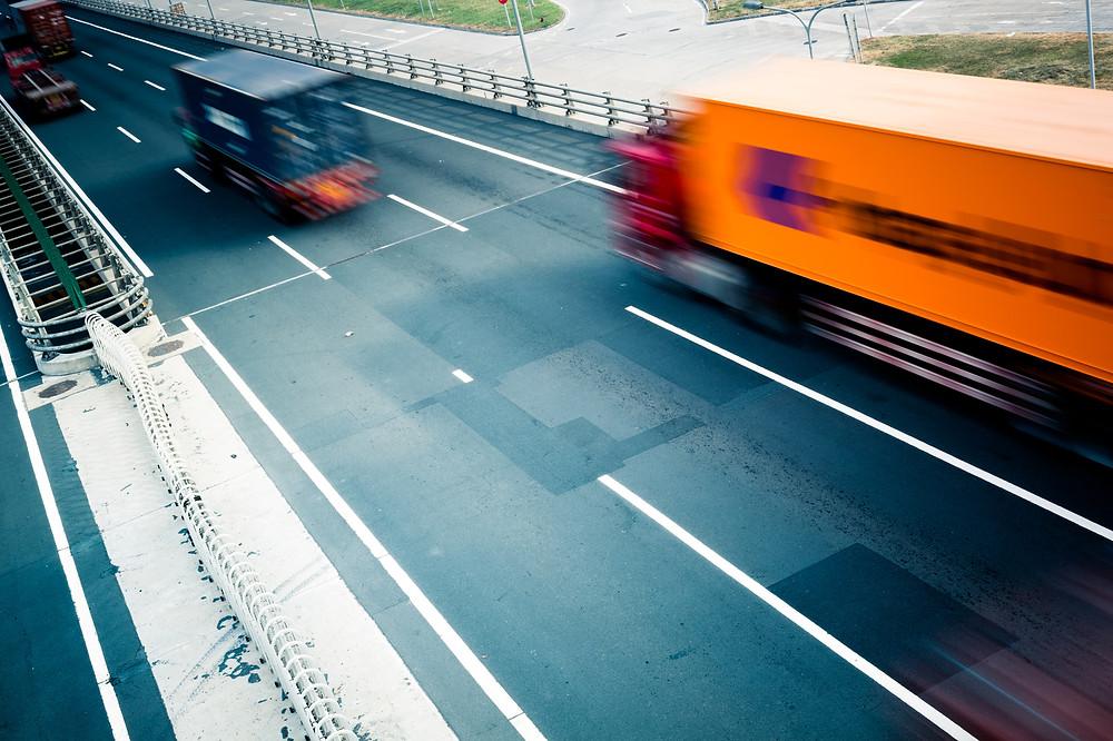 Trucks on the highway in Los Angeles CA