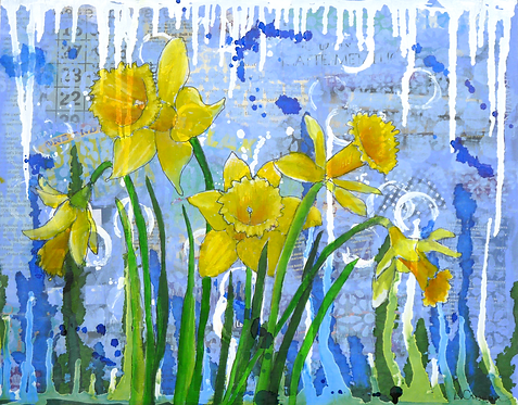 Ding Dong Daffodils original mixed media painting