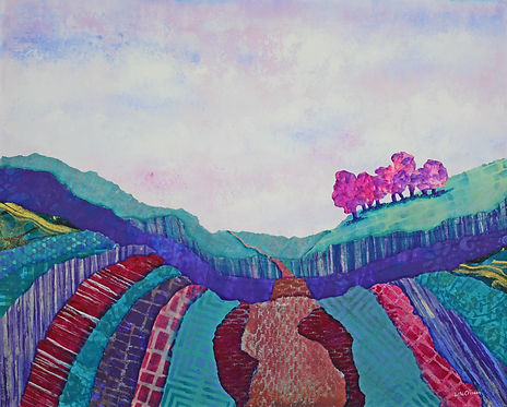 The Road Less Traveled mixed media landscape painting
