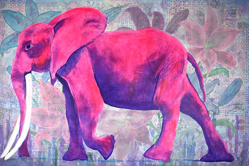 Kasbah Queen pink elephant mixed media painting