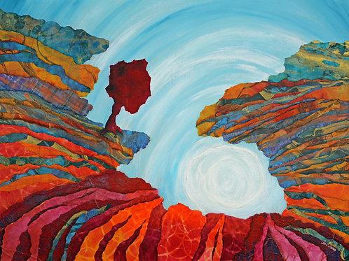 On Edge original mixed media painting