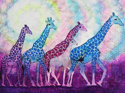 Giraffe mixed media canvas print