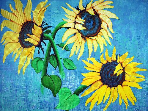 A Sunflowers Dream original mixed media painting