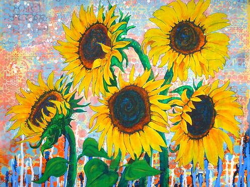 Joy of Sunflowers Desiring original painting