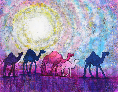 Out There original painting of sunset with camels