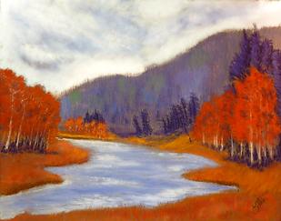 pastel painting colorado mountains aspen trees