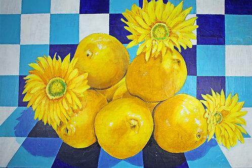 Sunshine and Lemons original mixed media painting