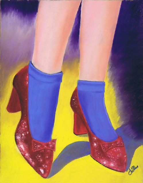 The Ruby Slippers original pastel painting