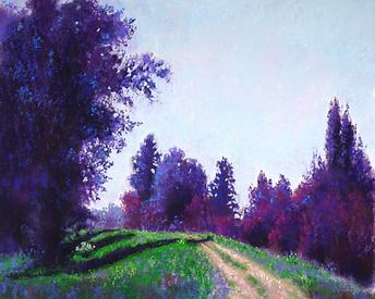 Pastel landscape painting, rural area, dirt road