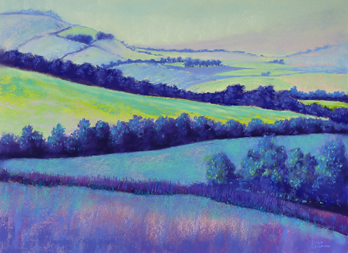 Patchwork original pastel painting