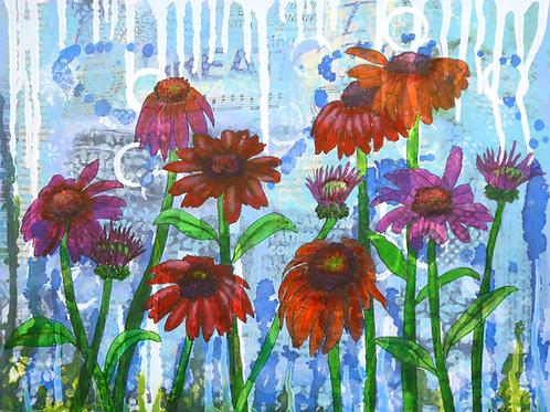 Enchanting Echinacea original mixed media painting